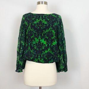 Alice & Olivia Silk Batwong Top in Green & Blank S